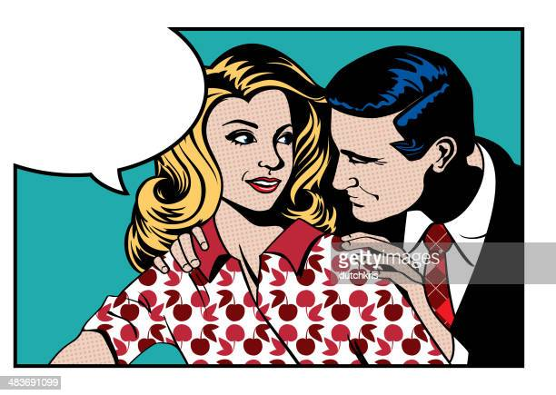 pop art romance - couple relationship stock illustrations