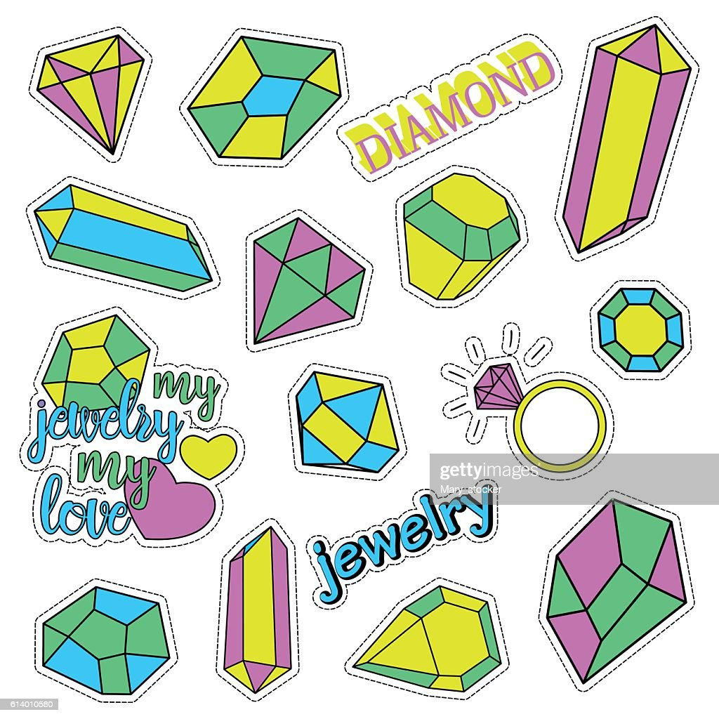 Pop art set with fashion patch badges and different diamonds