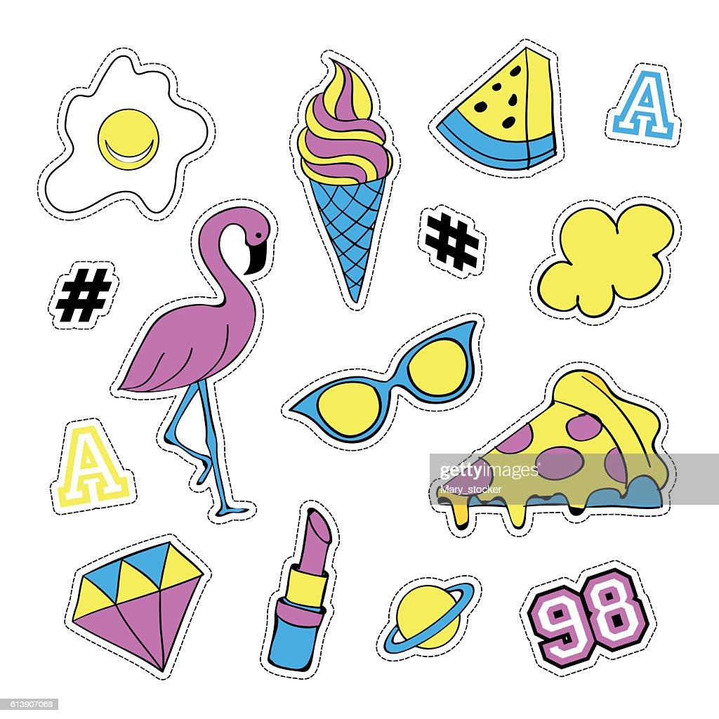 Pop art set with fashion patch badges and different elements