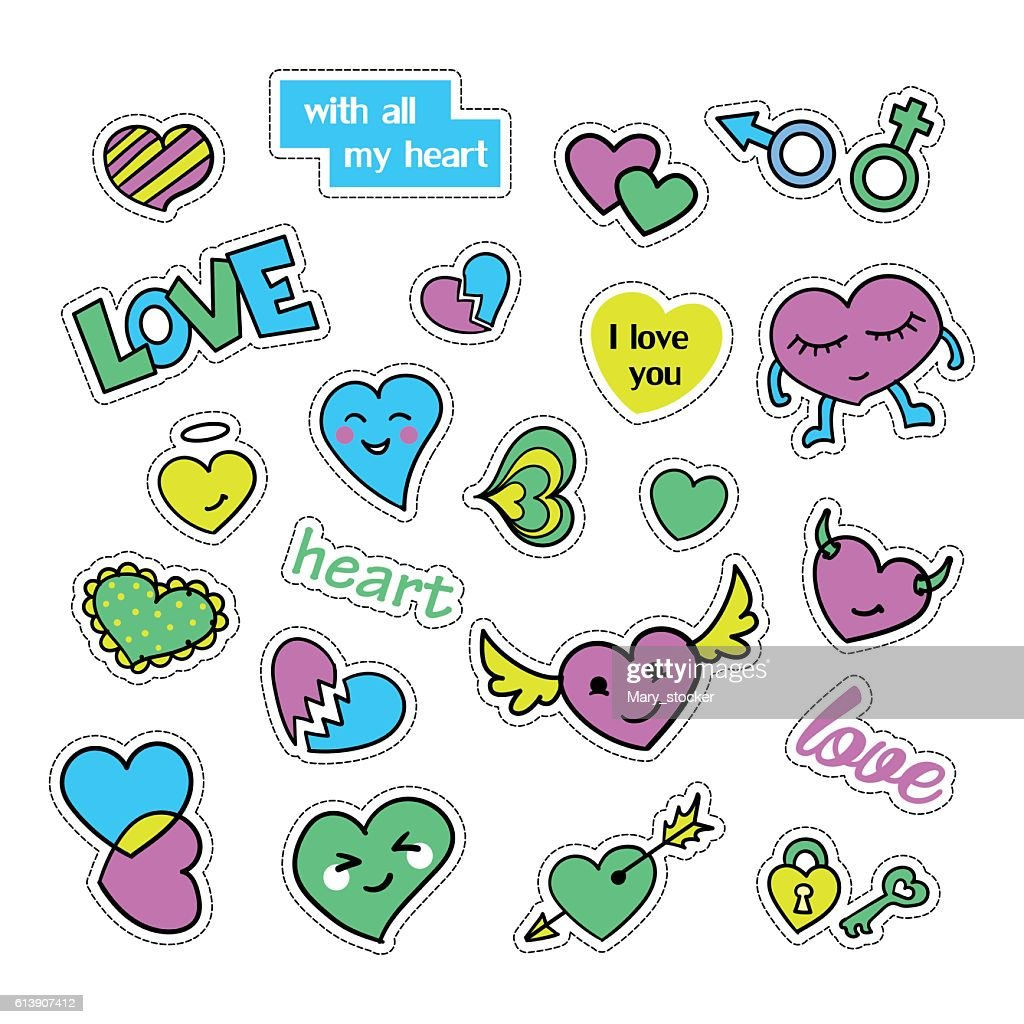 Pop art set with fashion patch badges and different hearts