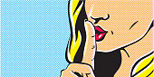 Pop art shhh woman, woman with finger on lips, silence gesture, pop art style woman banner, shut up