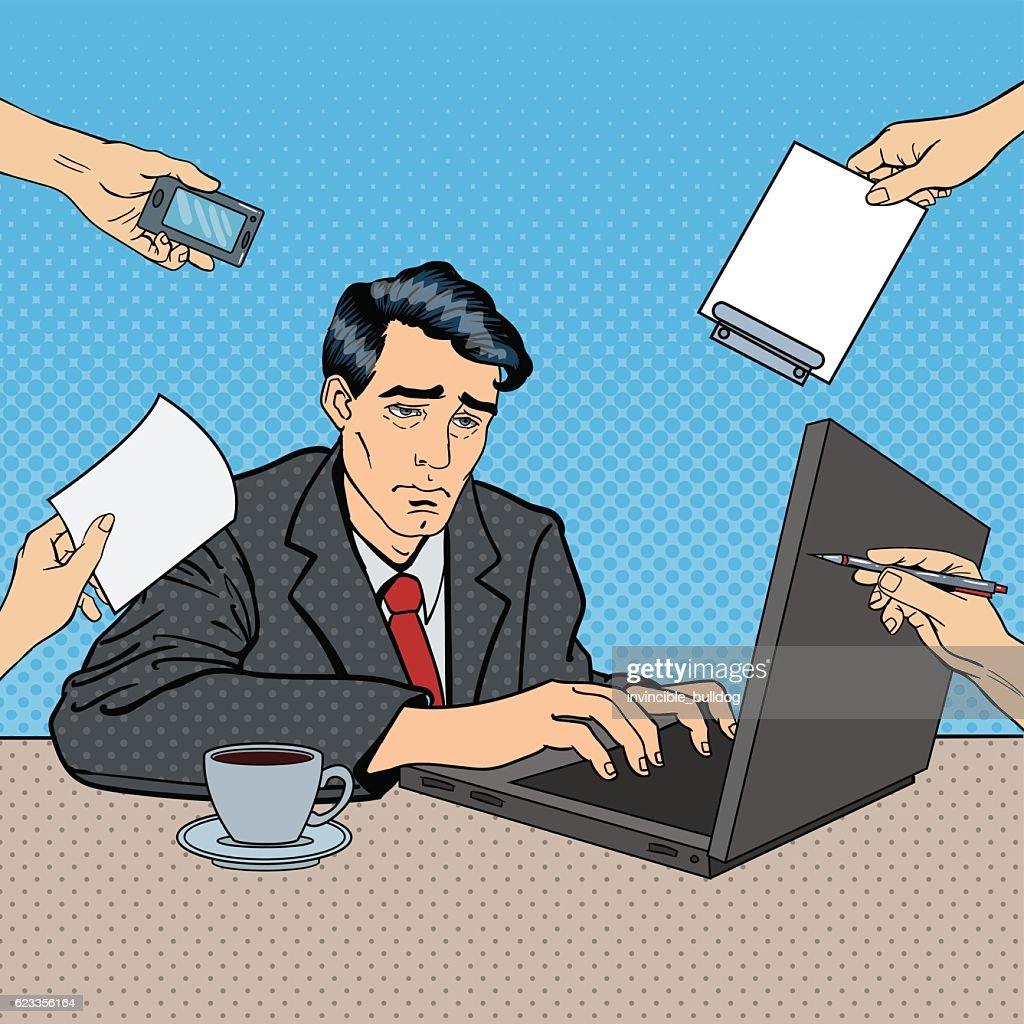 Pop Art Stressed Businessman with Laptop