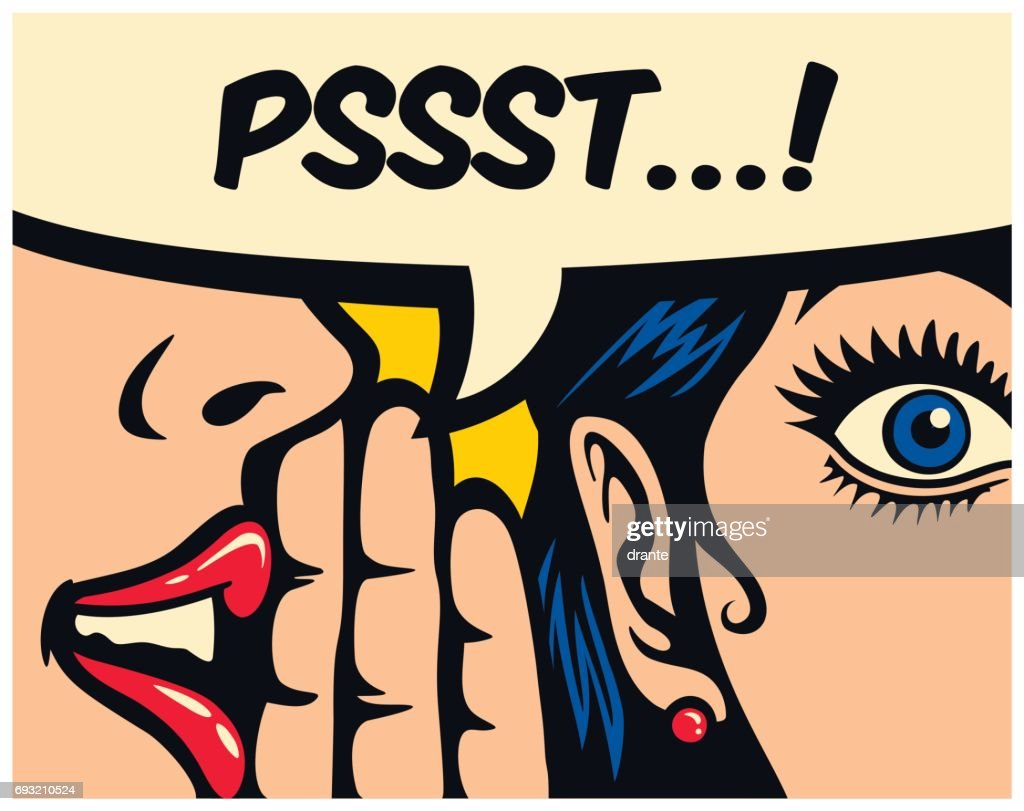 Pop art style comics panel gossip girl whispering secret in ear word of mouth vector illustration