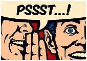Pop art style comics panel gossip man whispering secret in ear of surprised person with speech bubble vector illustration