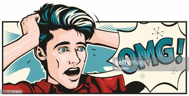pop art style horrified man - wide screen stock illustrations