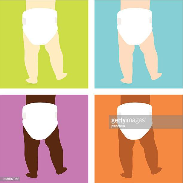 Pop art style images of baby bottoms with varying skin color