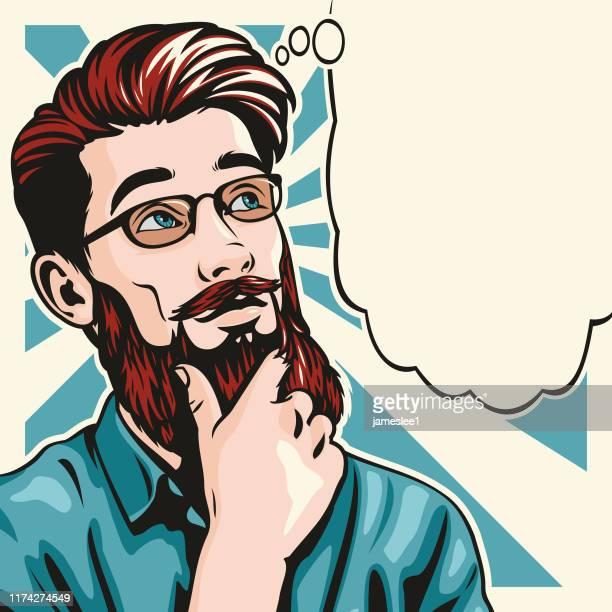 Pop art style thinking hipster Man