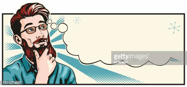 pop art style thinking hipster man - wide screen stock illustrations