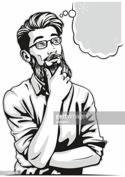 pop art style thinking hipster man - horn rimmed glasses stock illustrations, clip art, cartoons, & icons