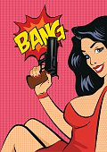 Pop art style vector illustration.  Woman with gun