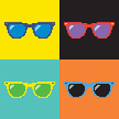 Pop art sunglasses/ Pixel sunglasses/ 8-bit Style sunglasses