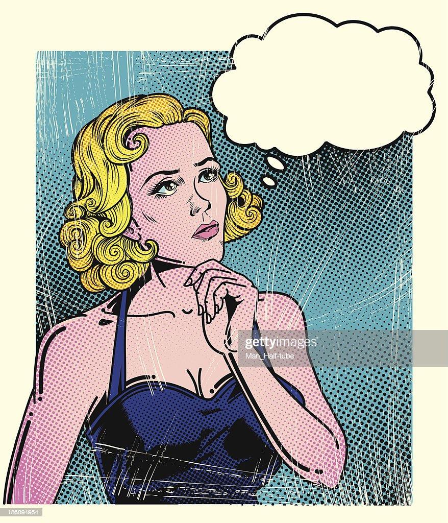 Pop art thoughtful woman : stock illustration
