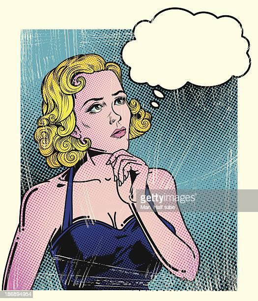 ilustrações de stock, clip art, desenhos animados e ícones de pensativa mulher de pop art - loira
