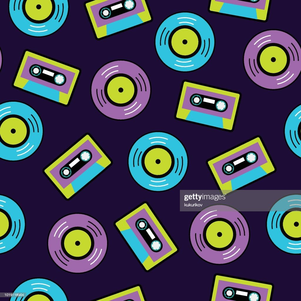 pop art vector musical pattern with vinyl