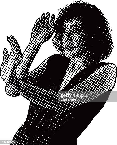 pop art vector of frightened young woman - gasping stock illustrations, clip art, cartoons, & icons