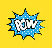 Pop art vector sticker with phrase Pow