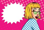 Pop Art Vintage advertising poster comic girl with speech bubble. Surpised pretty girl