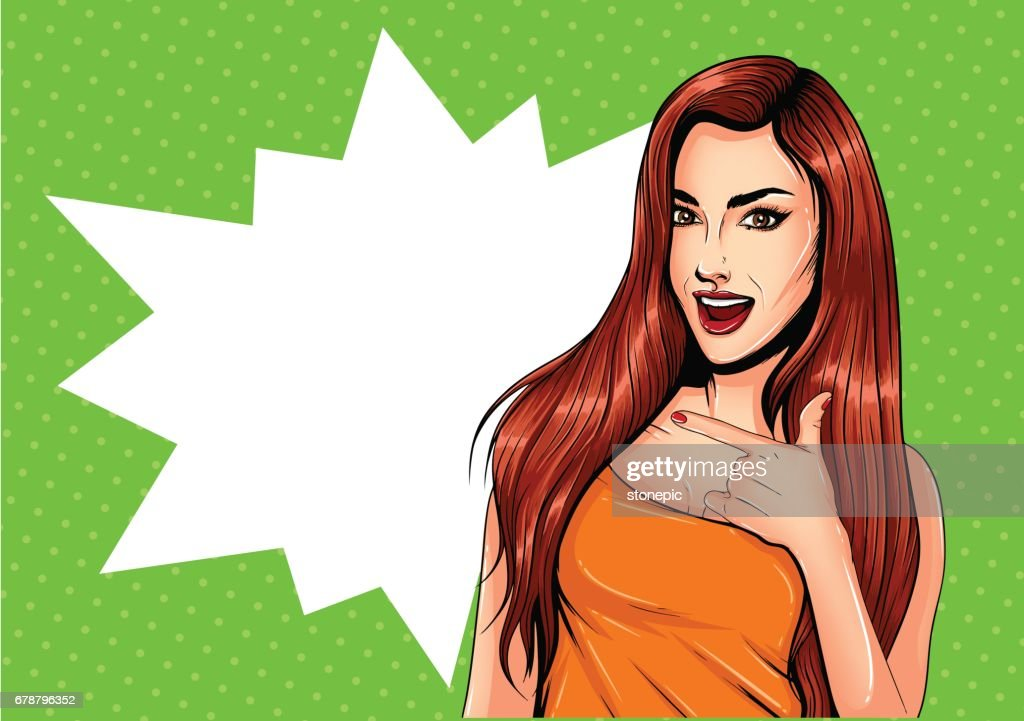 Pop Art Vintage advertising poster comic girl with speech bubble. Pretty girl pointing to the side