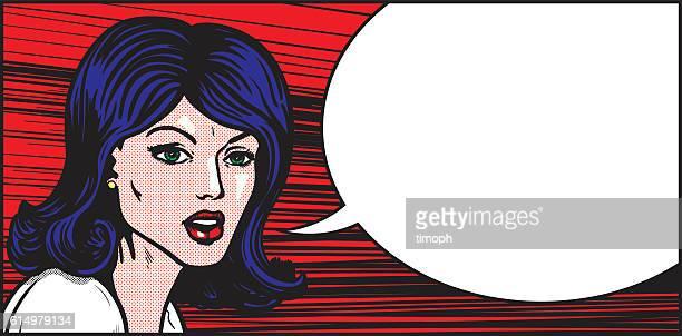 Pop art woman emotional speech