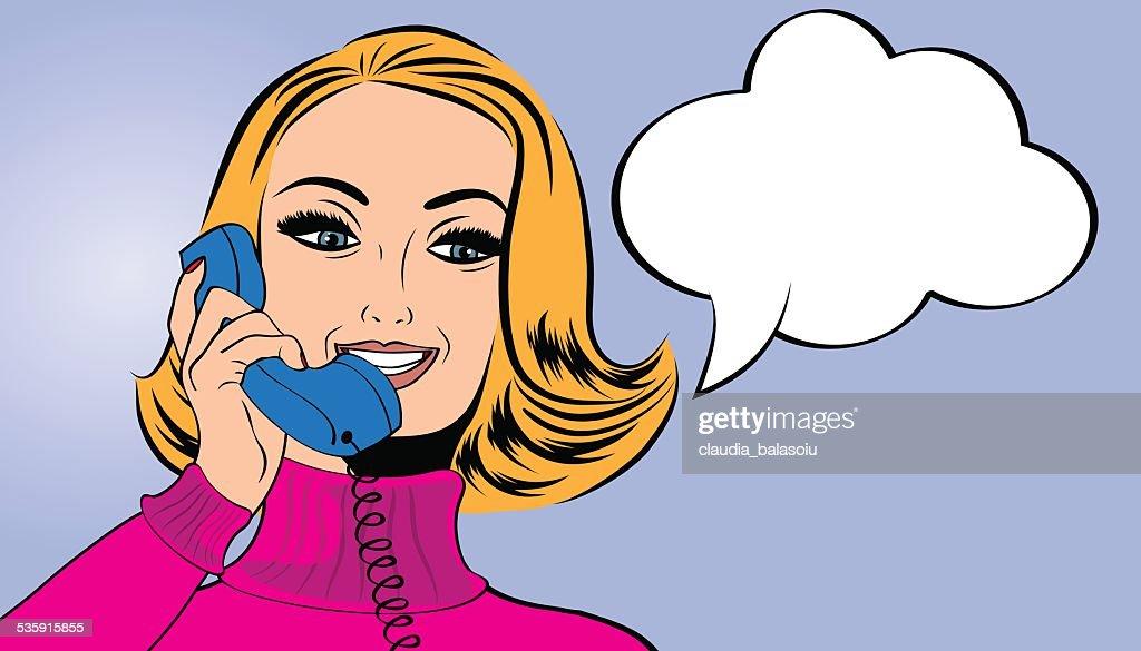 Mulher de Arte pop estilo comics a falar ao telefone : Arte vetorial