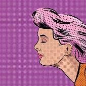Pop Art Woman in Profile Vector illustration