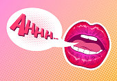 Pop art woman lips. Speech bubble comic book style. Hand drawn vector illustration.