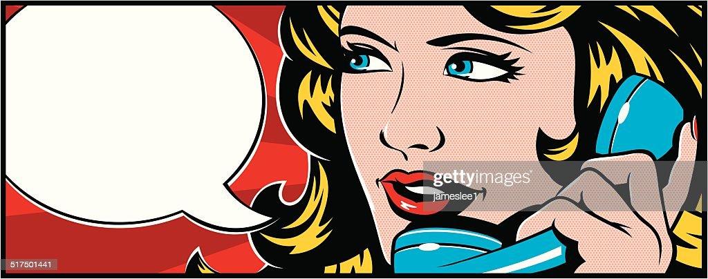 Pop art Woman On Phone : Stock Illustration