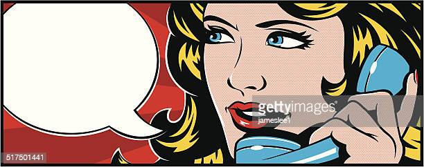 pop art woman on phone - using phone stock illustrations