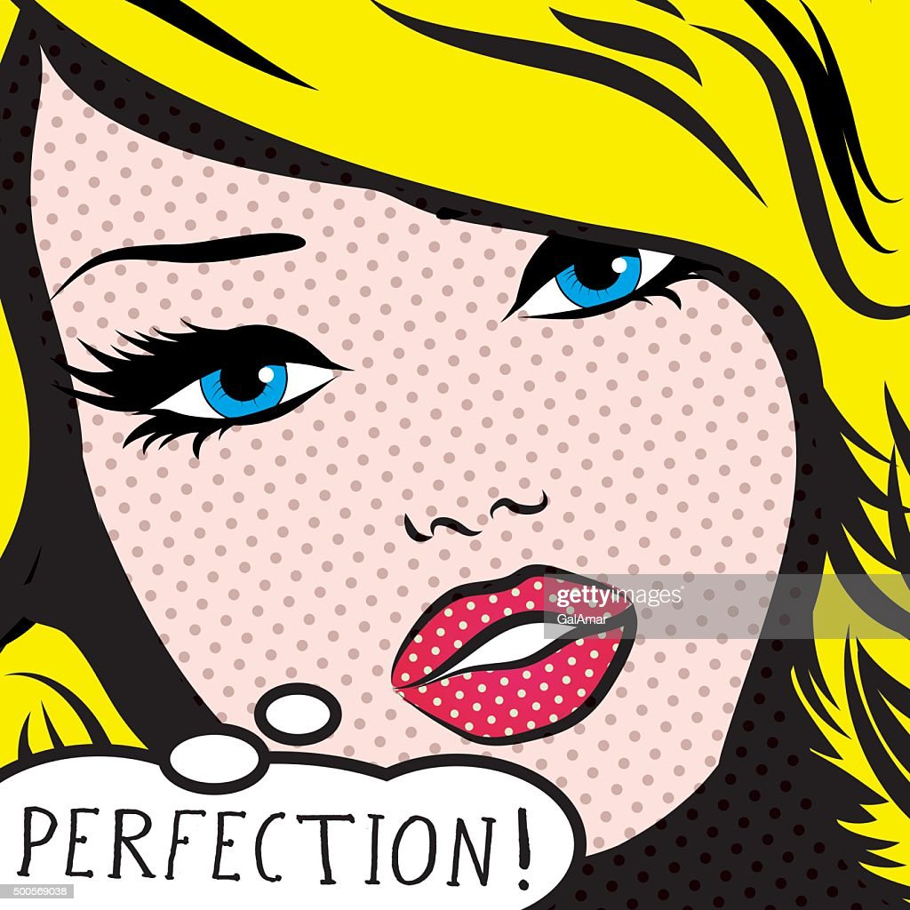 Pop Art Woman PERFECTION! sign. vector illustration.
