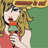 Pop Art Woman SUMMER IS ON! sign. vector illustration.