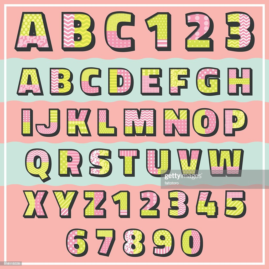 pop color pattern font with number