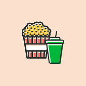 Pop corn box and soft drink ico