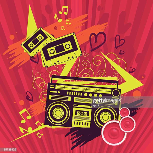 illustrazioni stock, clip art, cartoni animati e icone di tendenza di pazzo grafica di musica pop - hi fi