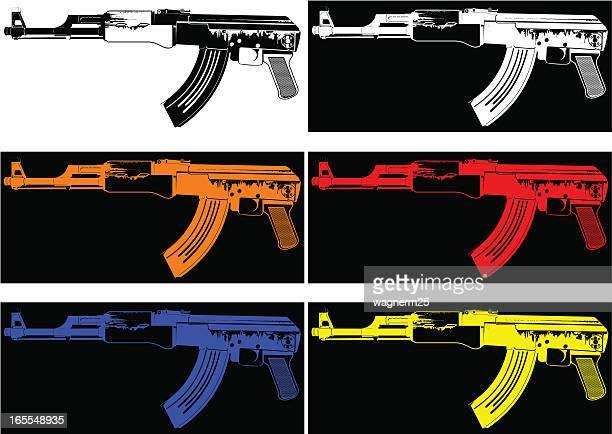 ilustraciones, imágenes clip art, dibujos animados e iconos de stock de máquina de pop pistolas - ak 47
