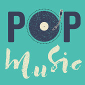 Pop music text art calligraphy letters. Illustration blue vintage background and vynil