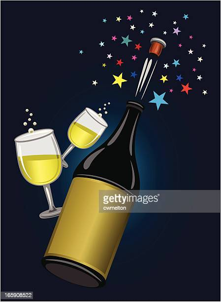 pop the cork! - champagne cork stock illustrations, clip art, cartoons, & icons