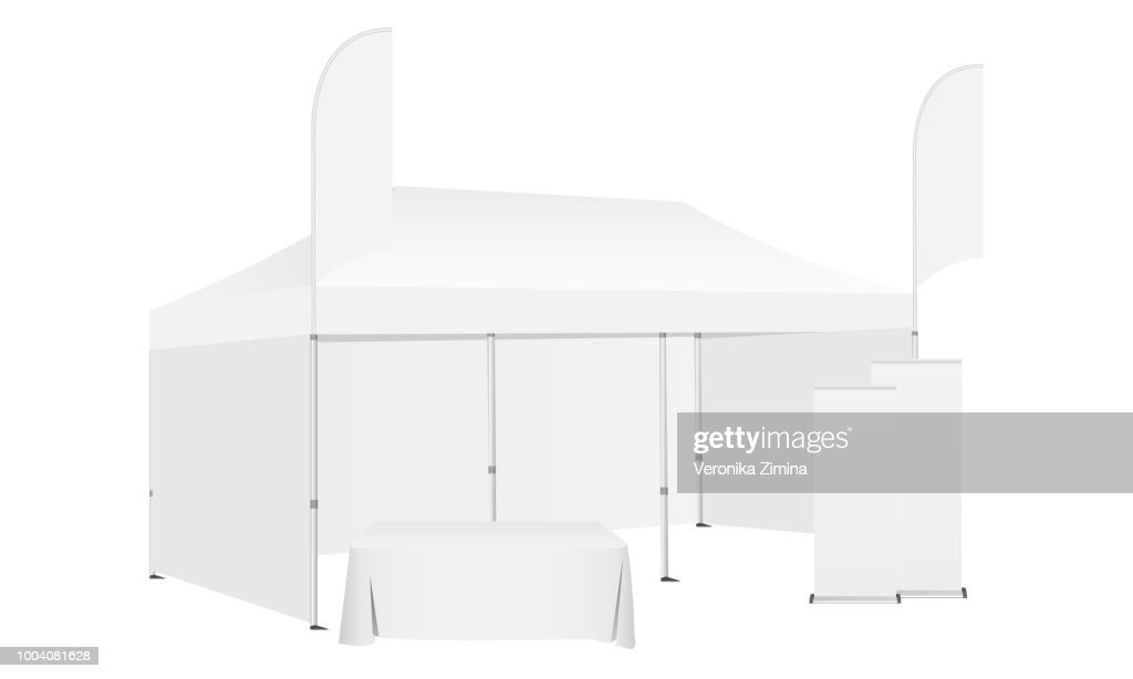 Pop up canopy tent with two flags, demonstration table and roll-up banners