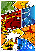 Pop-art style comic book page template.