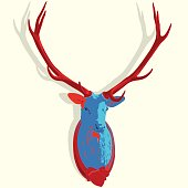 Popatr mounted deer head. Stuffed stag antlers. Hunting antique trophy.