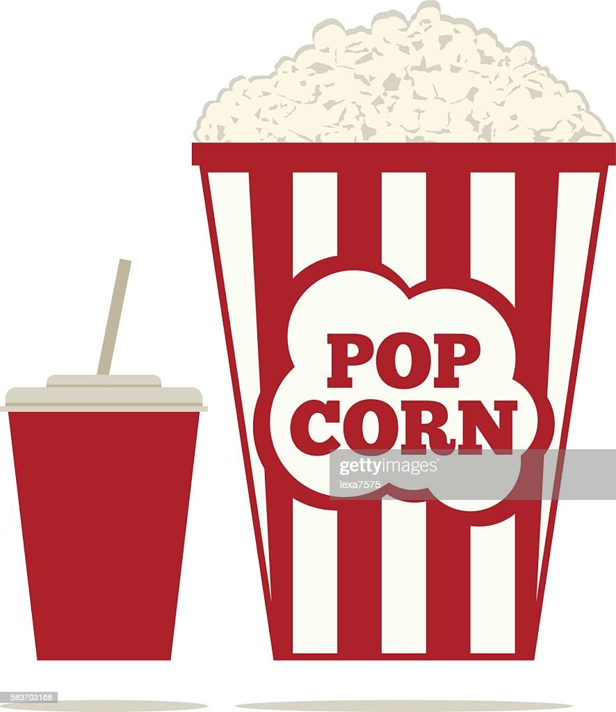 Popcorn and a drink in a glass with a straw.