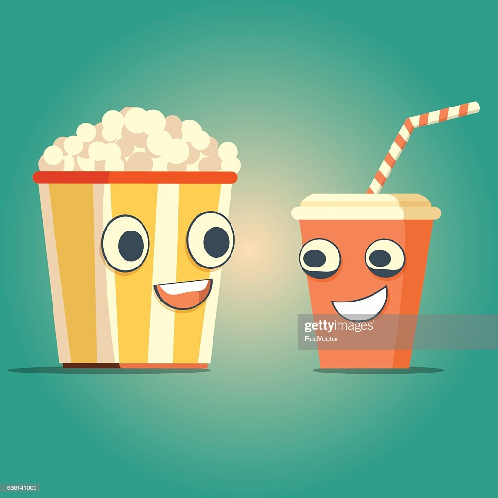 Popcorn and soda characters best friends.