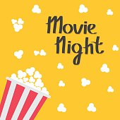 Popcorn bag. Cinema icon in flat design style. Left side. Movie night text.
