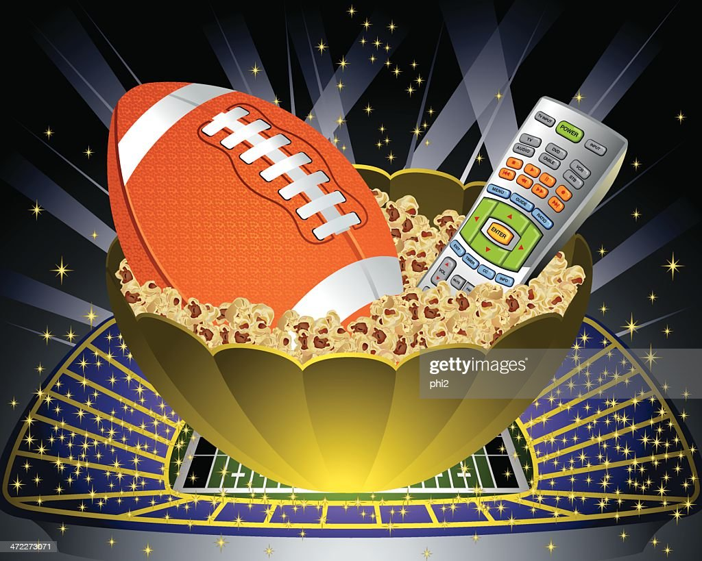 Popcorn Bowl with Football and Remote Control Vector