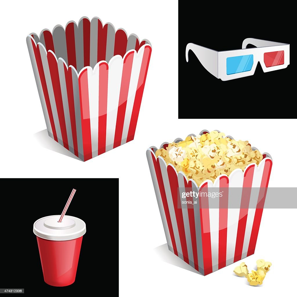 popcorn box, cola and 3D glasses icon