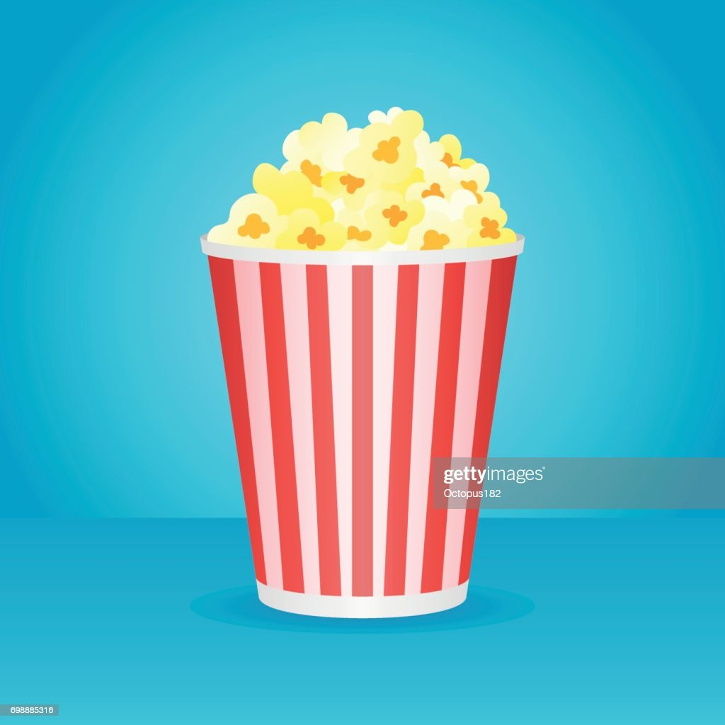 Popcorn box isolated on blue background