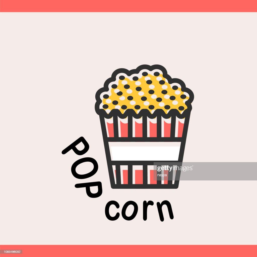 Popcorn box logotype template for web
