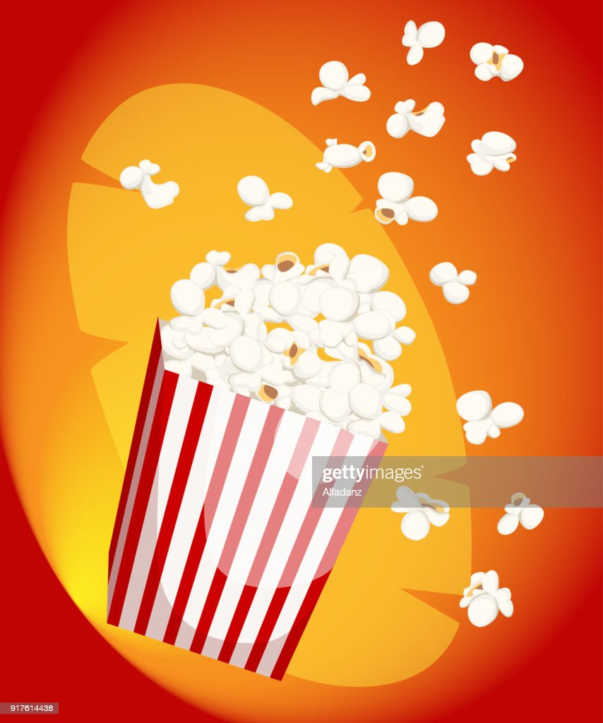 Popcorn icon symbol food cinema movie film flat vector stock bowl full of popcorn and paper glass Flat Design Style Fresh cartoon different Web site page and mobile app design