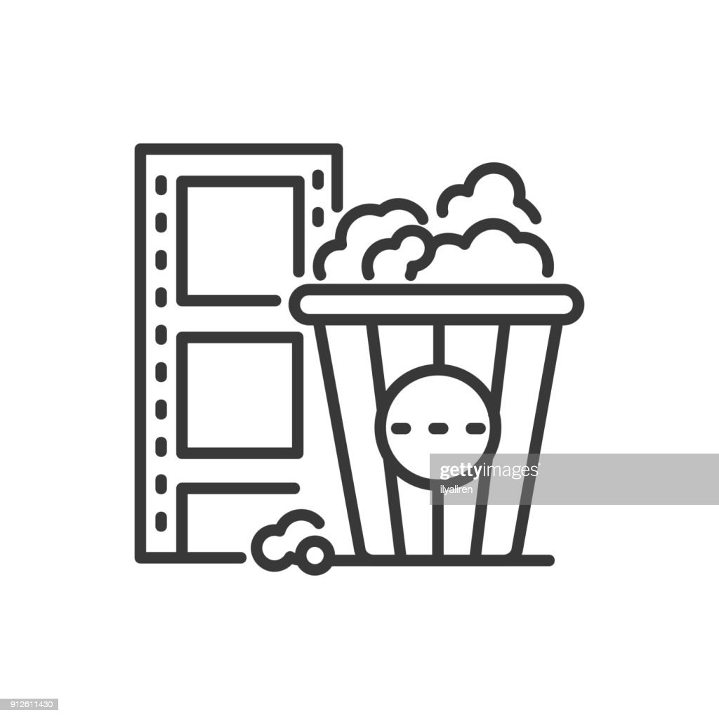 Popcorn - line design single isolated icon
