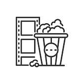 Popcorn - line design single isolated icon