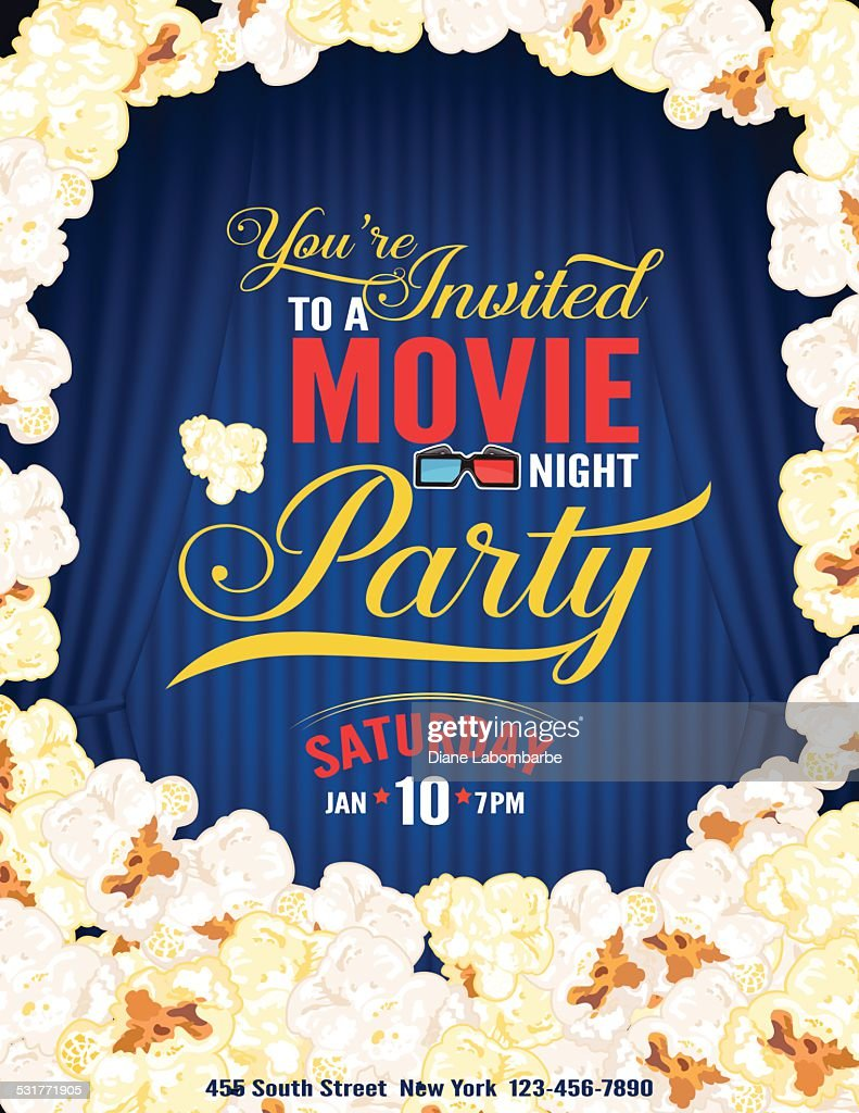 Popcorn Movie Night Party Invitation Template With Curtain Vector ...